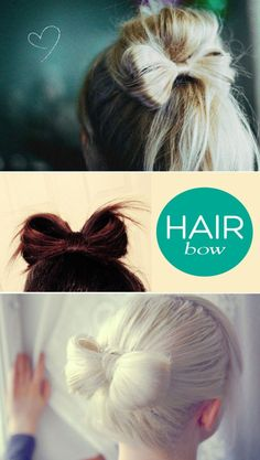 """Repin: """"Hair Bows"""" Looks kind of fun to try :_(How cute is this?! Add a hair pin in the middle for a little bling, and you've got a super cute hair style for your wedding!) #wedding #hair hair-ideas"""