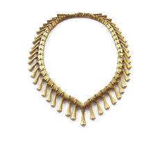 Kramer Necklace, Egyptian Revival, Gold Tone Fringe, Textured Metal, Vintage Necklace, Vintage Jewelry by zephyrvintage on Etsy
