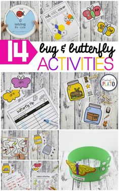 14 Must-Have Bug and Butterfly Activities! From ABC fun to math, life cycles to craftivities, this pack is perfect for spring centers with preschool and kindergarten kids! Kids Activities At Home, First Grade Activities, Preschool Learning Activities, Spring Activities, Craft Activities For Kids, Preschool Activities, Kindergarten Language Arts, Kindergarten Centers, Literacy Centers