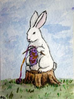Knitting Bunny. i need her for my knitting nook!