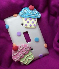 Items similar to Cupcake Lightswitch Cover - Single - Handmade polymer clay on Etsy Decorative Light Switch Covers, Switch Plate Covers, Light Switch Plates, Polymer Clay Crafts, Diy Clay, Handmade Polymer Clay, Cupcake Kitchen Decor, Disney Kitchen Decor, Pretty Cupcakes