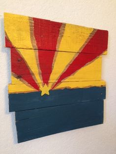 Hand painted Arizona Flag Wooden Pallet Sign by CactusCreationsAZ