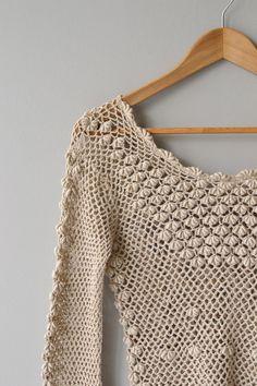 Isla sweater vintage 70s crochet sweater cotton por DearGolden