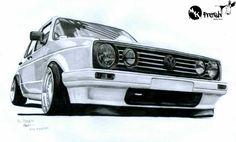 Volkswagen Golf Mk1, Vw Mk1, Custom Car Audio, Custom Cars, Golf 2 Gti, Car Drawing Pencil, City Golf, Vw Cars, Car Drawings