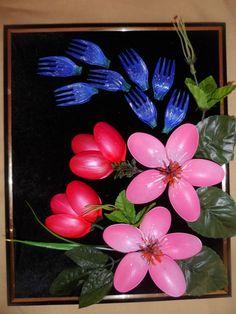 Цветочная композиция из одноразовой посуды -Crafts disposable cutlery