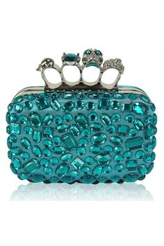 Vestry Online | Embellished Satin Box Clutch in Turquoise