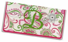 Monogrammed Checkbook Cover - Pink Green Paisley  personalized check book cover 8a