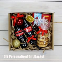 DIY Personalized Gift Basket For Anyone, Girlfriend, Kids, Mom Etc - Owe Crafts Christmas Gift Baskets, Christmas Gift Box, Holiday Gifts, Christmas Crafts, Homemade Gifts, Diy Gifts, Personalised Gifts Diy, Corporate Gift Baskets, Diy Gift Baskets