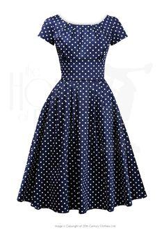 a99b7b4bf1f5 1960s Lucy Dress - navy polka dot Hairspray Costume