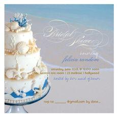 Seashells and nautical wedding cake beach bridal shower invitations