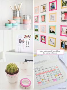 Spruce up your workspace with our roundup of clever washi tape ideas.    #washi #BBBsupplies    You can get your washi tape supplies from our Etsy Shop at www.bbbsupplies.com.