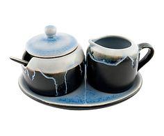 Set de azucarero, jarra y cuchara en cerámica - negro y azul