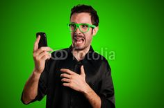 scared man holding phone $200