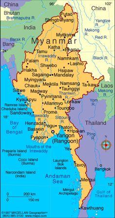 President: Lt. Gen. Thein Sein (2011)  Vice President: Vice President Sai Mouk Kham (2011)  Land area: 253,954 sq mi (657,741 sq km); total area: 261,969 q mi (678,500 sq km)  Population (2014 est.): 55,746,253 (growth rate: 1.03%); birth rate: 19.11/1000; infant mortality rate: 47.74/1000; life expectancy: 65.24; density per sq km: 72  Capital and largest city (2011 est.): Rangoon, 4.457 million  Other large cities: Mandalay, 1.063 million; Nay Pyi Taw 1.06 million  Monetary unit: Kyat
