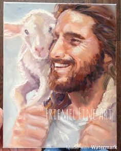 Our good Shepherd leaves the 99 to return the 1 lost sheep. All of heaven rejoices when someone accepts Jesus as their savior! Pictures Of Christ, Jesus Christ Images, Lord Is My Shepherd, The Good Shepherd, Jesus Smiling, Idees Cate, Image Jesus, Jesus Painting, Paintings Of Christ