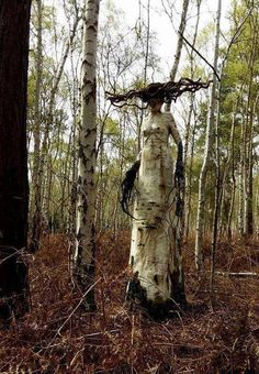 Woodland art sculpture in situ , eerie forest fantasy creature Haunted Woods, Haunted Forest, Haunted Trail Ideas, Creepy Art, Scary, Weird Trees, Unique Trees, Horror Art, Dark Fantasy