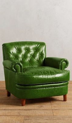 "Leather Kimmeridge Armchair"" The green is a little too bright and bold to be labeled pastel. However, it's good to have a splash of bold  color to add interest in a pastel room,"