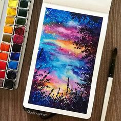 So I want to share the aquarelle paintings of landscapes that I created using watercolor. Scroll down the page to see them! I really hope you like them. Watercolor Scenery, Watercolor Kit, Watercolor Paintings For Beginners, Watercolor Illustration, Art Drawings Beautiful, Art Drawings For Kids, Colorful Drawings, Scenery Paintings, Unique Paintings