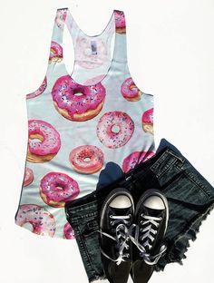 Pastel donuts tank top, doughnut clothes, donut print, donut