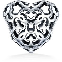 Filigree Fleur De Lis Heart Bead Sterling Silver Fits Pandora ($15) ❤ liked on Polyvore featuring jewelry, pendants, beads & charms, beaded jewelry, sterling silver heart jewelry, sterling silver charms, sterling silver heart charm and heart charm