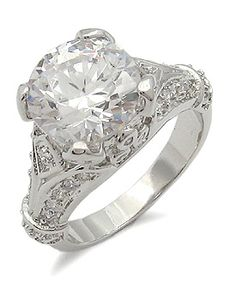 BACK IN STOCK! ANTIQUE INSPIRED CZ RING - 3 Carat Solitaire with Antique Design CZ Engagement Ring | Hope Chest Jewelry, $26.49