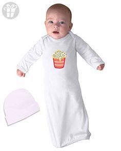 I Eat I Sleep I Pee Repeat Infant Baby Rib Layette Sleeping Gown & Hat Set White - Eat sleep repeat t shirts (*Amazon Partner-Link)