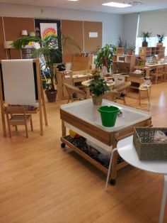 Transforming our Learning Environment into a Space of Possibilities: sensory table, easel in atelier