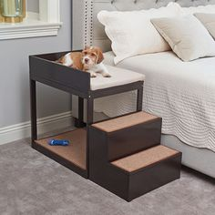 The Pet's Bedside Bunk Dogs dog furniture Cute Dog Beds, Diy Dog Bed, Pet Beds For Dogs, Unique Dog Beds, Wood Dog Bed, Cat Beds, Bunk Beds With Stairs, Kids Bunk Beds, Dog Stairs For Bed