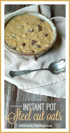 Instant Pot Steel Cut Oats. This is one of our favorite easy recipes! The oats are soaked and fermented in the pot over night. Then in the morning, you simply press a button and in a short while you have creamy porridge! Definitely the healthiest way to make oatmeal! realfoodrn.com