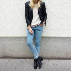 tifmys - Zara leather jacket and boots, Mango knit sweater & Cheap Monday jeans.