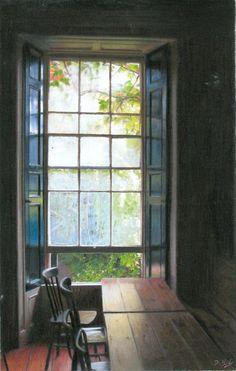 """Darren BAKER """"Window Light""""   Pastel drawing"""