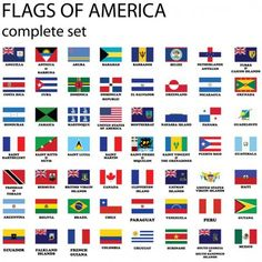 Bandeiras do continente americano — Ilustração de Stock All World Flags, World Country Flags, Flags Of European Countries, Countries Of The World, Laos, Navassa Island, German Language Learning, Drawing Quotes, St Kitts