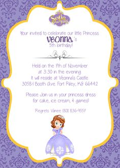 Free Sofia the First Invitations Princess themed birthday party