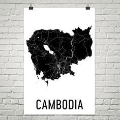 Cambodia Map, Map of Cambodia, Cambodian Art, Cambodia Poster, Cambodia Wall Art, Cambodia Poster, Cambodia Gifts, Cambodia Decor