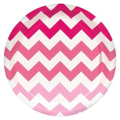 Pink Chevron Paper Dinner Plates - 8 count