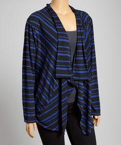 Loving this Black & Blue Stripe Open Cardigan - Plus on #zulily! #zulilyfinds