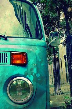 Inspiring Image Blue Retro Street Van Volkswagen