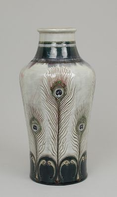 Auguste Delaherche (French, 1857–1940). Vase with peacock feathers, ca. 1889. The Metropolitan Museum of Art, New York. Robert A. Ellison Jr. Collection, Purchase, Acquisitions Fund; Louis V. Bell, Harris Brisbane Dick, Fletcher, and Rogers Funds and Joseph Pulitzer Bequest; and 2011 Benefit Fund, 2013 (2013.483) #ceramics #peacock
