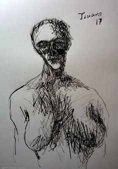 Desenho de Ticiano Souza - Corpo de Mulher - Desenho feito com caneta e nanquim - 2017