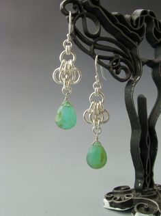 Butterfly Wing Chain Mail Earrings with Blue Peruvian Opal via Etsy