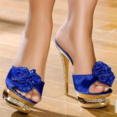 My all time FAVORITE gold and blue with a flower pumps Hot High Heels, Platform High Heels, Sexy Heels, Stiletto Heels, Hot Shoes, Shoes Heels, Beautiful High Heels, Blue Heels, Me Too Shoes