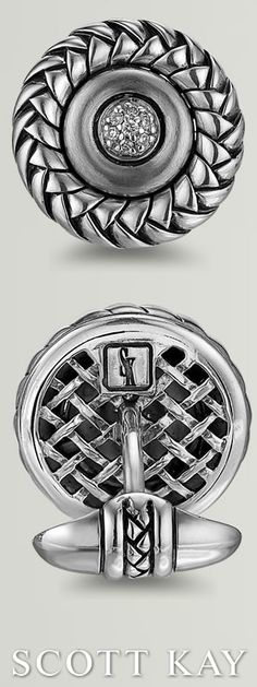 Style #: GC0022SMAD Additional Details: Sterling Silver; Pavé Diamonds;0.14 Total Carat Weight Metals: Sterling Silver Total Diamond Weight: 0.14ct. #ScottKay #Cufflinks
