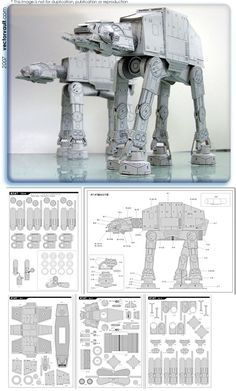 Star Wars - Papercraft AT-AT #starwars #papercraft  http://www7a.biglobe.ne.jp/~sf-papercraft/sifi.html