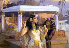 Details from #Cleopatra on the Terraces of #Philae, 1896 Frederick Arthur Bridgman , American . 1847 - 1928  Egypt - Old Cairo Paintings