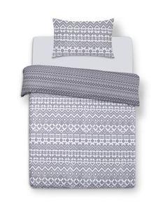 Grey Print Single Duvet Cover