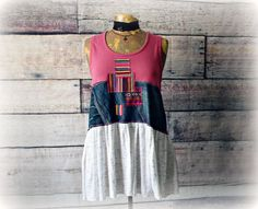 Reconstructed Sweater Tribal Style Bohemian Clothing Women/'s Pullover Unique Art Clothes Patch Sweater Knit Tunic Top M L /'TINSLEY/'