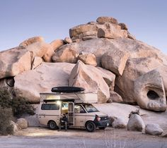 Photo by Corey Arnold @arni_coraldo  For the next few months I'll be traveling to National Parks around the US in this desert camouflaged 1987 Chevy Astro Tiger camper. Here she last week among the granite blobs of Joshua Tree National Park.