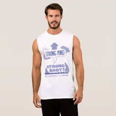 Men's Strong Mind Strong Body Muscle Tank (White) - white gifts elegant diy gift ideas