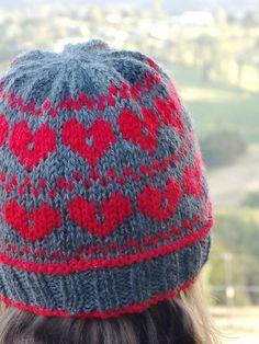 Heart it, Hate it Hat knitting pattern by Gabriella henry on LoveKnitting Free Crochet, Knit Crochet, Crochet Hats, Knitting Patterns, Crochet Patterns, Bazaar Ideas, Fair Isle Pattern, Heart Crafts, Knit Hats