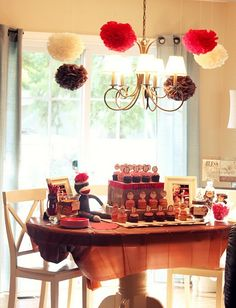 First birthday idea- love the red, brown, white colors and the sock monkey theme.  Adorable.